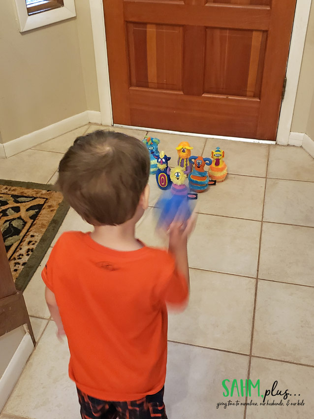 3 year old with Melissa & Doug Monster Bowling Set   3 year old gift guide   sahmplus.com