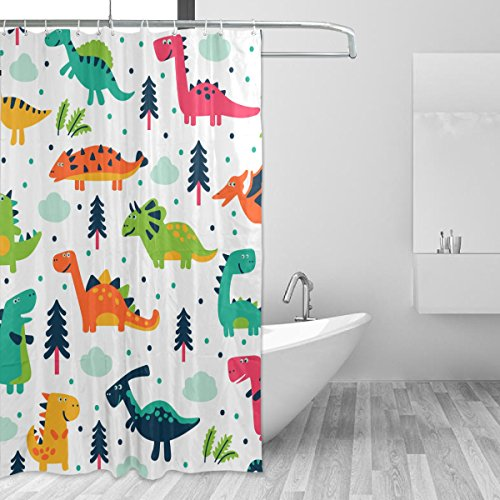 ... Jurassic Dino Living In The Jungle Cartoon Illustration Palm Trees  Lakeside Stones Fun Image, Fabric Bathroom Decor With Hooks, Blue Green Red