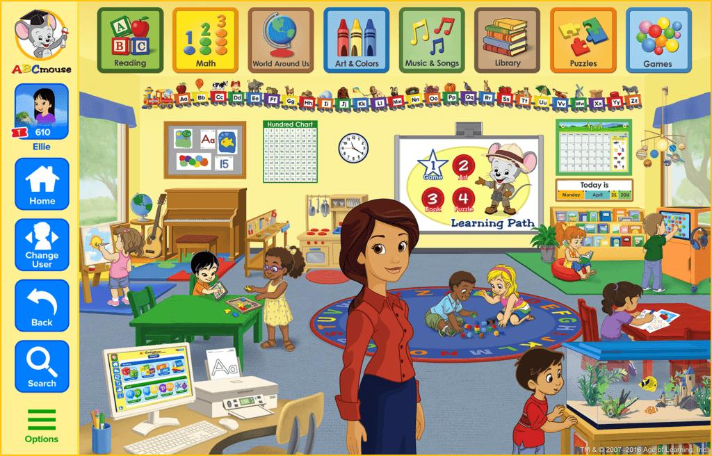 abcmouse kindergarten education classroom