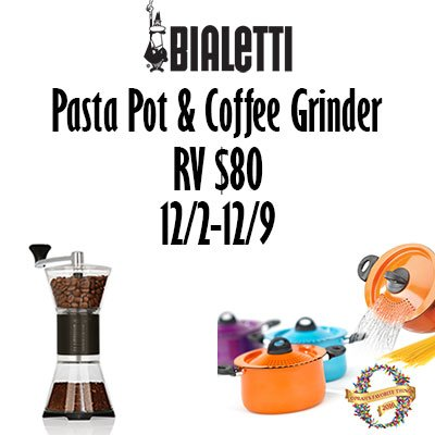Bialetti Pasta Pot and Coffee Grinder Giveaway | www.sahmplus.com