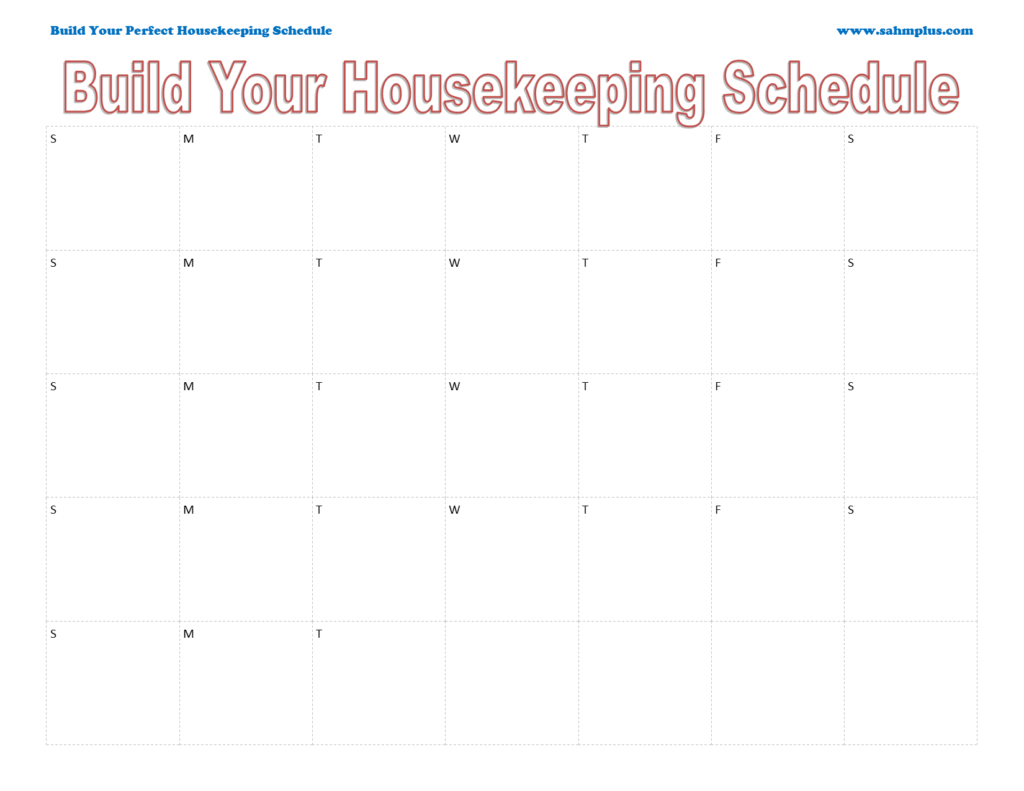 Custom housekeeping schedule single month calendar