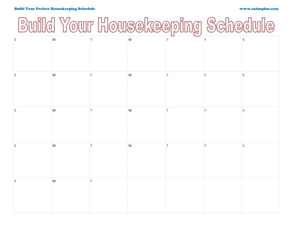Custom housekeeping schedule single month calendar