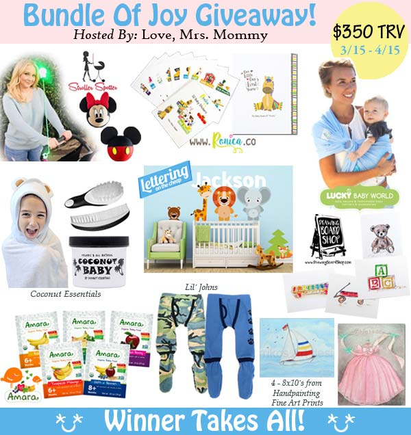 Bundle of Joy Giveaway ends 4/15/18. Enter for a chance to win a big prize pack of goodies for your new baby . www.sahmplus.com