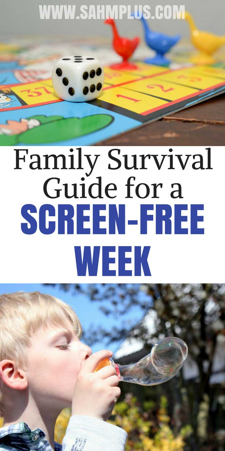 How to survive when kids unplug for screen-free week. The book Screen-Free Fun gives tons of screen-free activities and ideas to help you, plus other ways to stay sane | www.sahmplus.com
