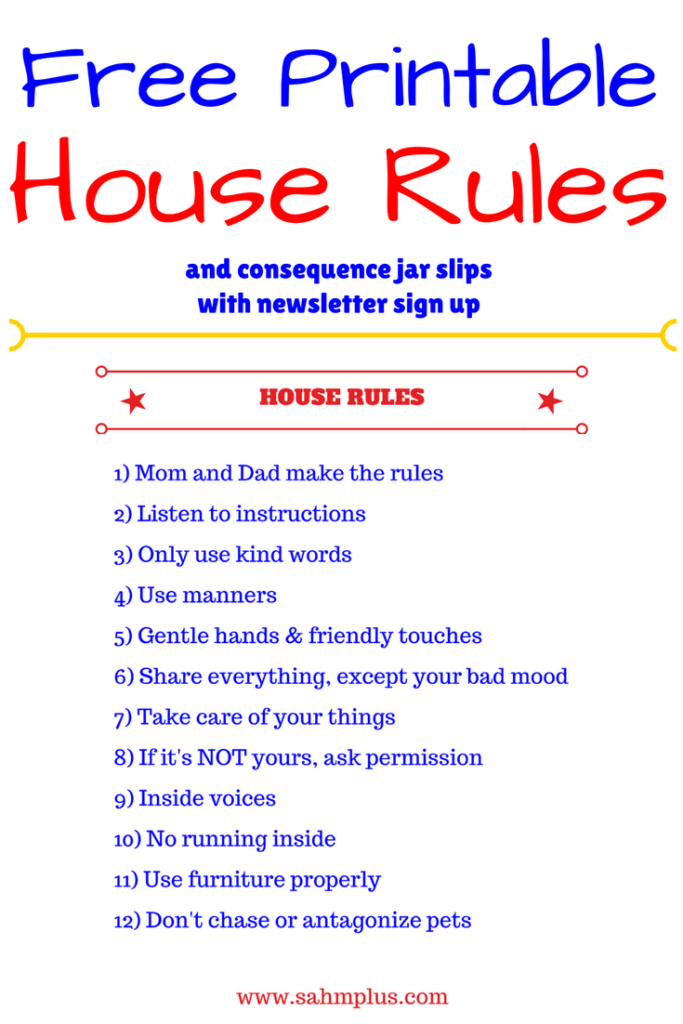 printable house rules and consequence jar slips