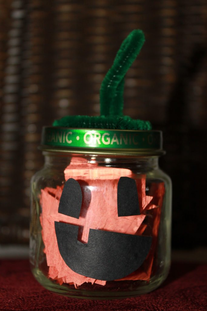 DIY mini pumpkin jar craft for Halloween/ Fall decorating; complete baby food jar pumpkin craft © www.sahmplus.com