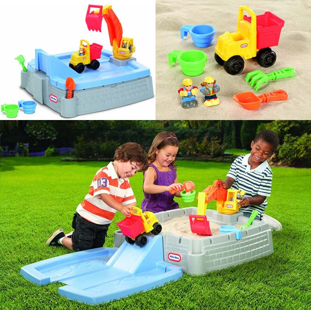 Small children using the Little Tikes Big Digger Sandbox