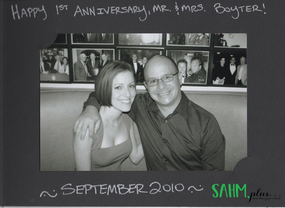 Ivy with her husband 1 year anniversary photo at Morton's   sahmplus.com