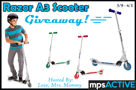 Razor A3 Scooter Giveaway ends April 1, 2018