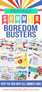 Printable summer boredom busters to help entertain kids over summer break via Dating Divas