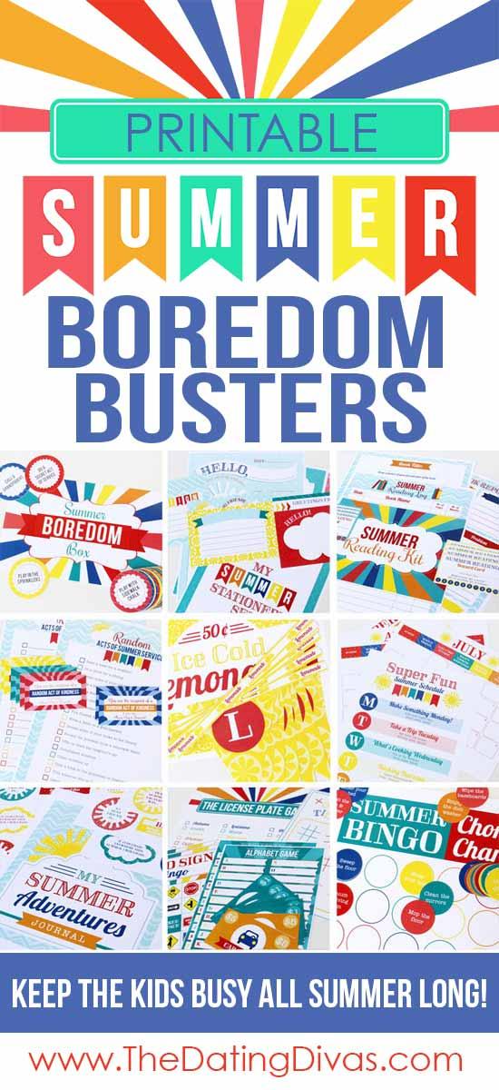 Printable summer boredom busters to help entertain kids over summer break via Dating Divas