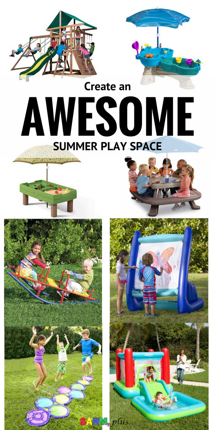 These outdoor toys are perfect for a summer play space. Your kids wont ask about the park if your outdoor play space is this cool! Whether you're having a summer staycation or just looking to keep the kids busy for the summer, check out these awesome outdoor toys to help you create an amazing summer play space! www.sahmplus.com