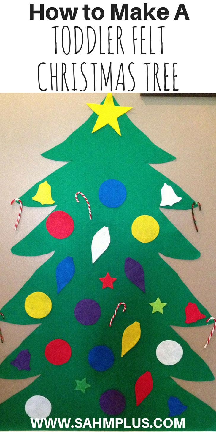 How to make a toddler felt christmas tree with felt christmas tree ornaments - endless toddler fun this christmas with a large felt christmas tree for kids | www.sahmplus.com