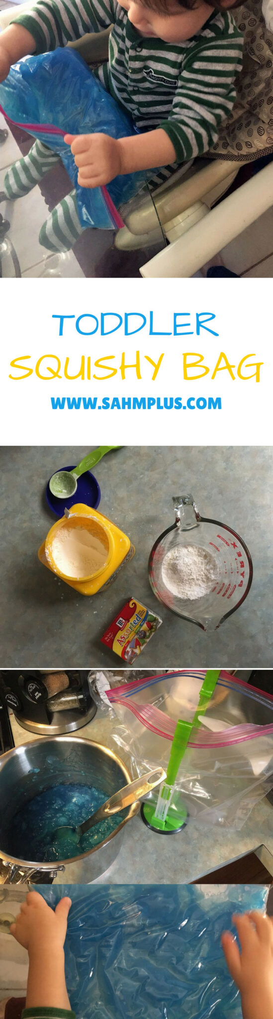 Toddler squishy bag recipe and instructions. The activity turned into a mommy therapy/sensory activity instead of a toddler activity