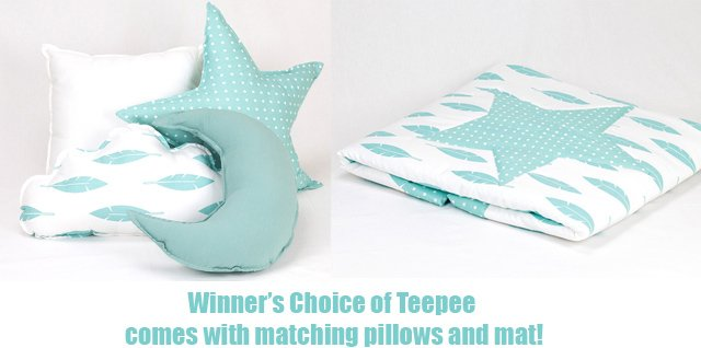 Teepee Joy set includes matching pillows and mat