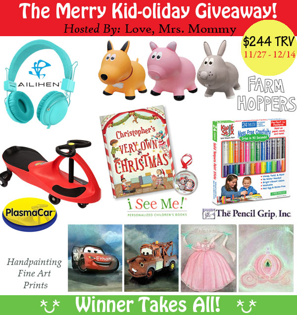 Come on in for a chance to win fabulous kid prizes worth over $200 in The Merry Kid-oliday Giveaway. Giveaway ends December 12, 2017.
