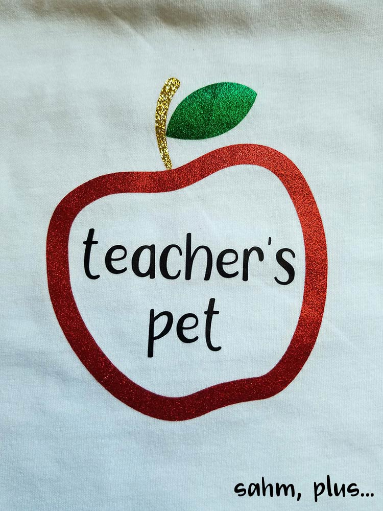Teachers pet words in glitter apple monogram - heat transfer vinyl | www.sahmplus.com