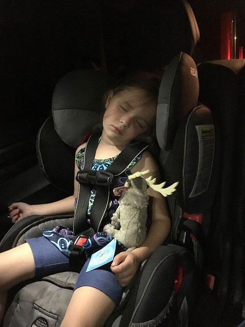 Asleep in the car after an entertaining Disney on Ice Experience.