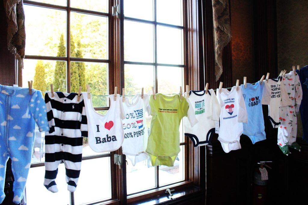 Baby clothes line up