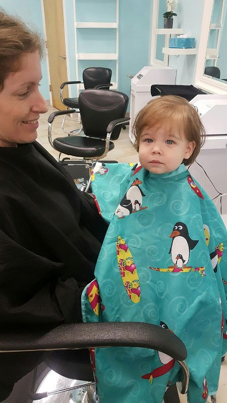 Before my son's first haircut - he had long hair and was often mistaken for a girl