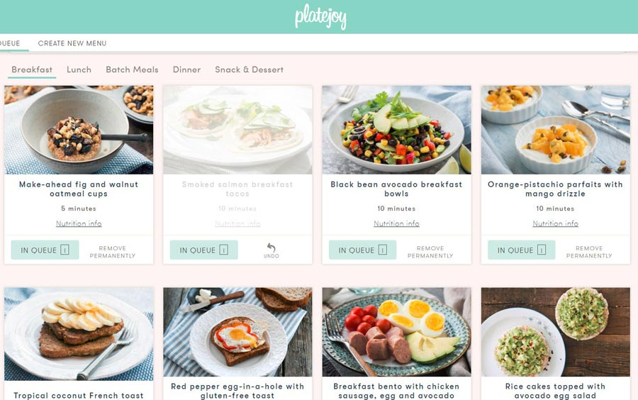 My first PlateJoy breakfast menu queue | sahmplus.com