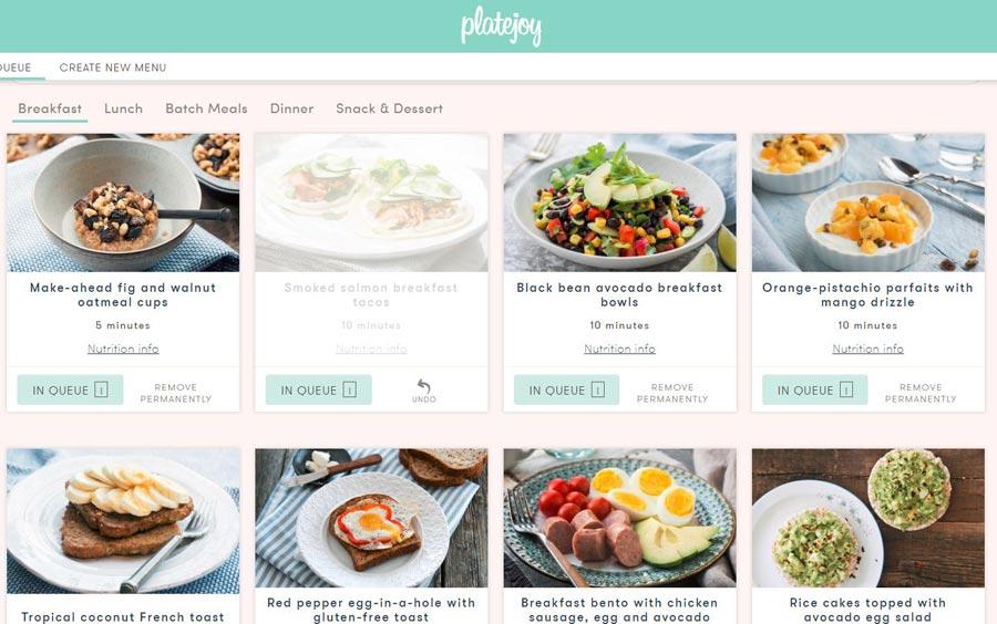My first PlateJoy breakfast menu queue | sahmplus.com