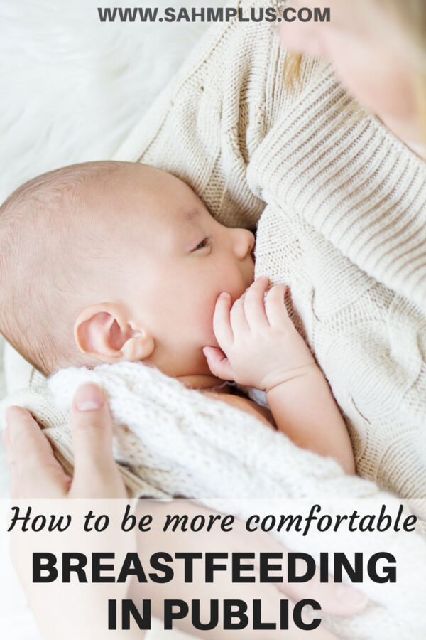 How to breastfeed in public more confidently and comfortably. Tips to overcome uneasy feelings about breastfeeding your baby publicly | www.sahmplus.com