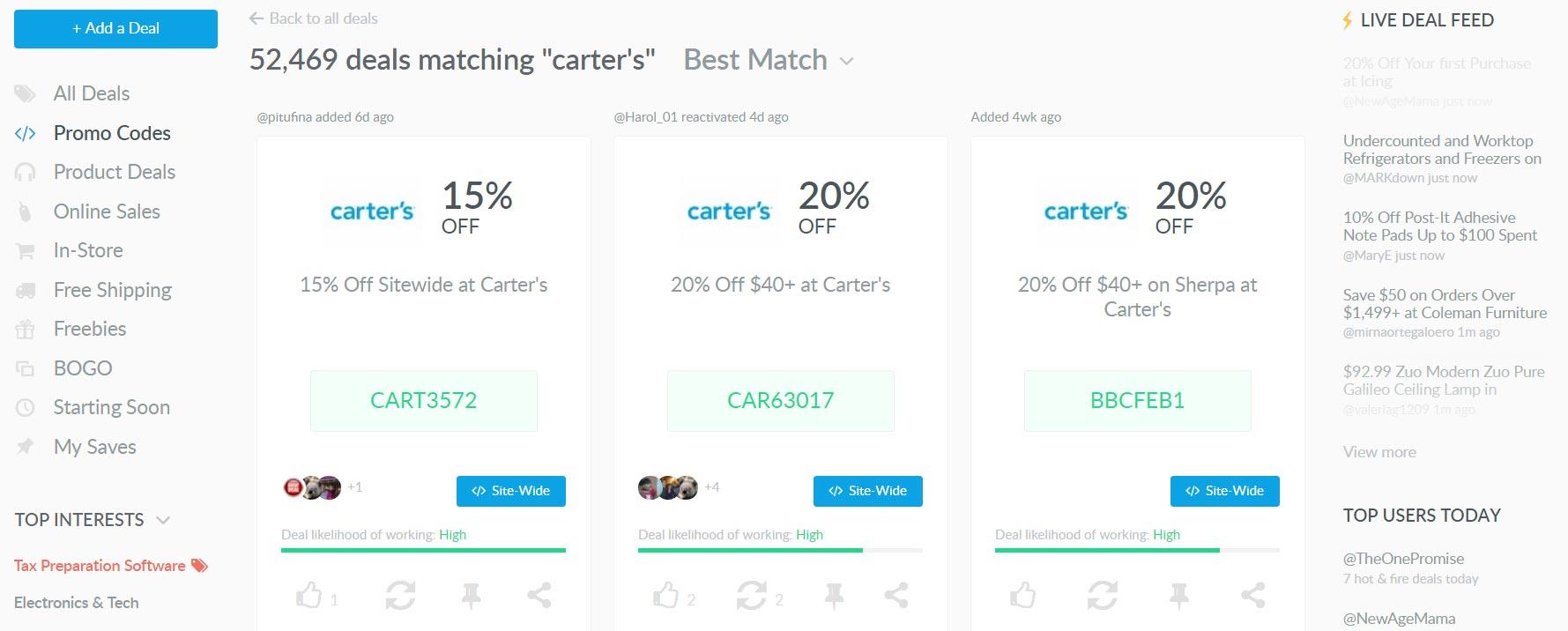 Carters promo code example on Dealspotr