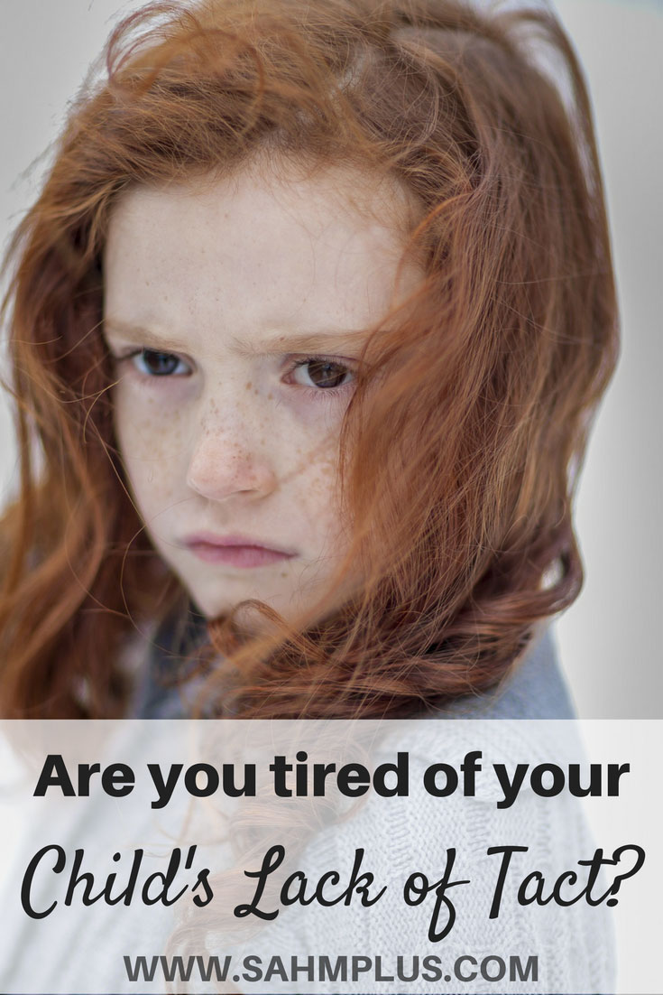 Are you tired of your child's tact of tact? Raising children to be tactful is an important skill. Though honesty is the best policy, teaching children to care for other's feelings is also important, and some things just don't need to be said. How to raise tactful children. Teach kids tact. www.sahmplus.com