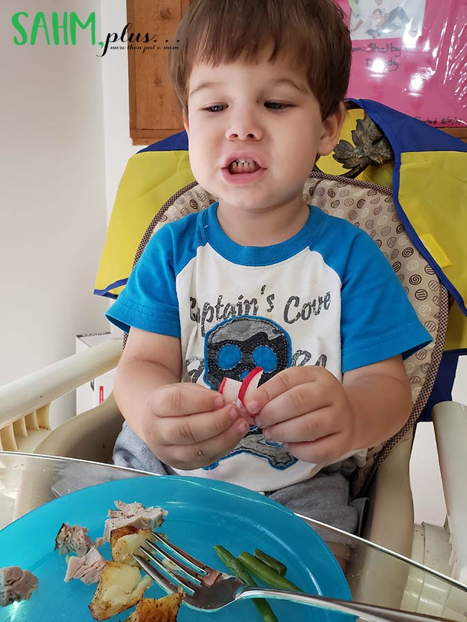 child sitting at dinner table with PlateJoy meal saying radish | sahmplus.com