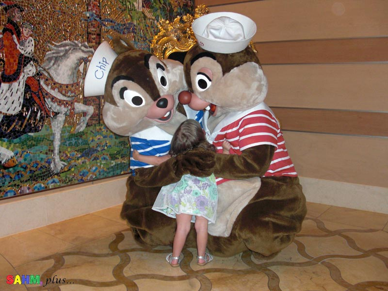 toddler chip and dale disney character greet- disney cruise with a toddler | www.sahmplus.com