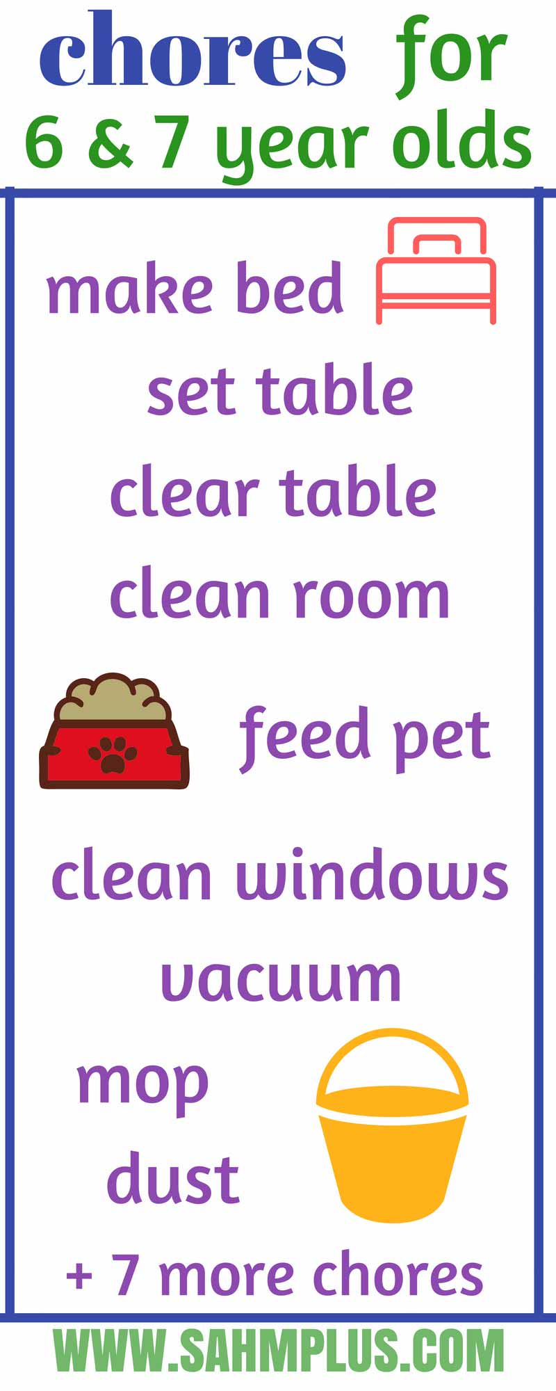List of age-appropriate chores for 6 and 7 year olds. Teaching kids responsibility through chores   sahmplus.com