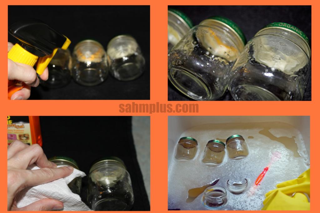 cleaning jars with goo gone, preparing for DIY mini pumpkin jar craft © www.sahmplus.com