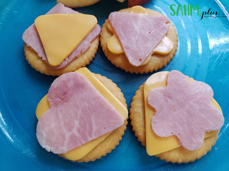 Fun shapes ham and cheese on crackers toddler snack idea