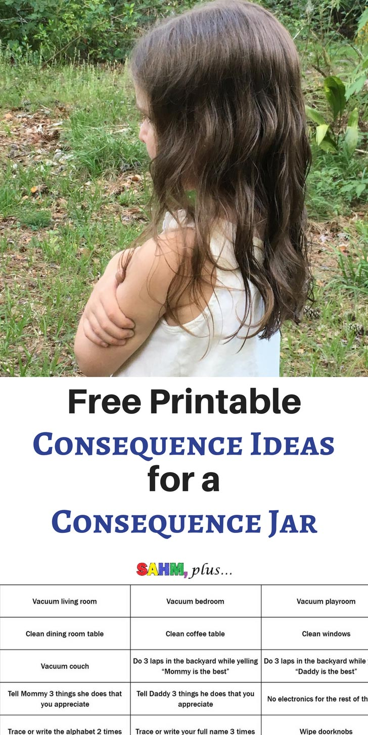 Consequence jar ideas for starting a child's consequence jar in a step toward better behavior. Free printable list of consequences for a consequence jar | www.sahmplus.com