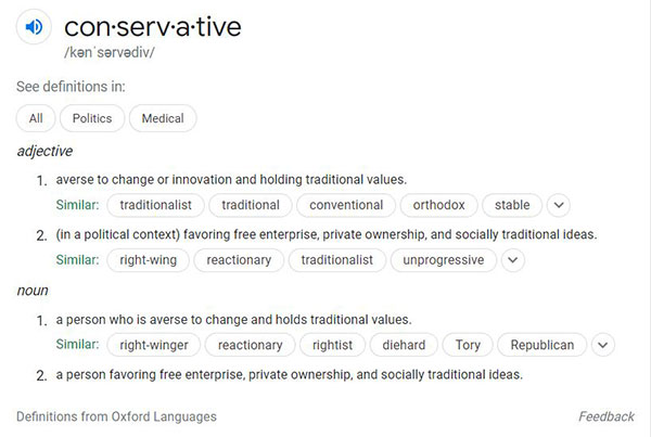 google search snippet - definition of conservative