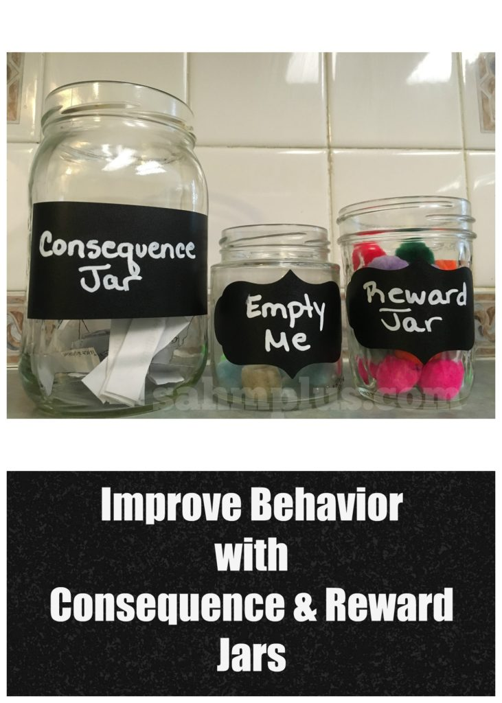 Improve behavior with consequence and reward jars. These behavior jars will help you get your kids to behave better in no time www.sahmplus.com