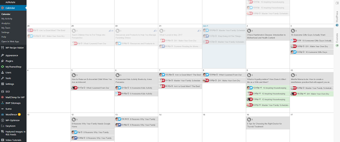 Coschedule content calendar for www.sahmplus.com
