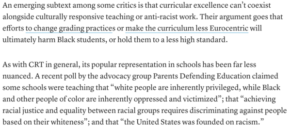 Text about critical race theory from Edweek Article