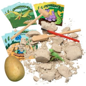 dinosaur excavation kit and coloring books