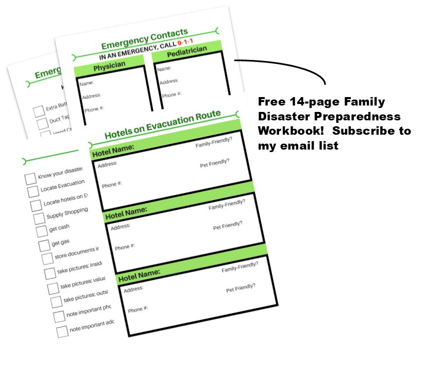 14-page family emergency preparedness workbook with newsletter subscribe