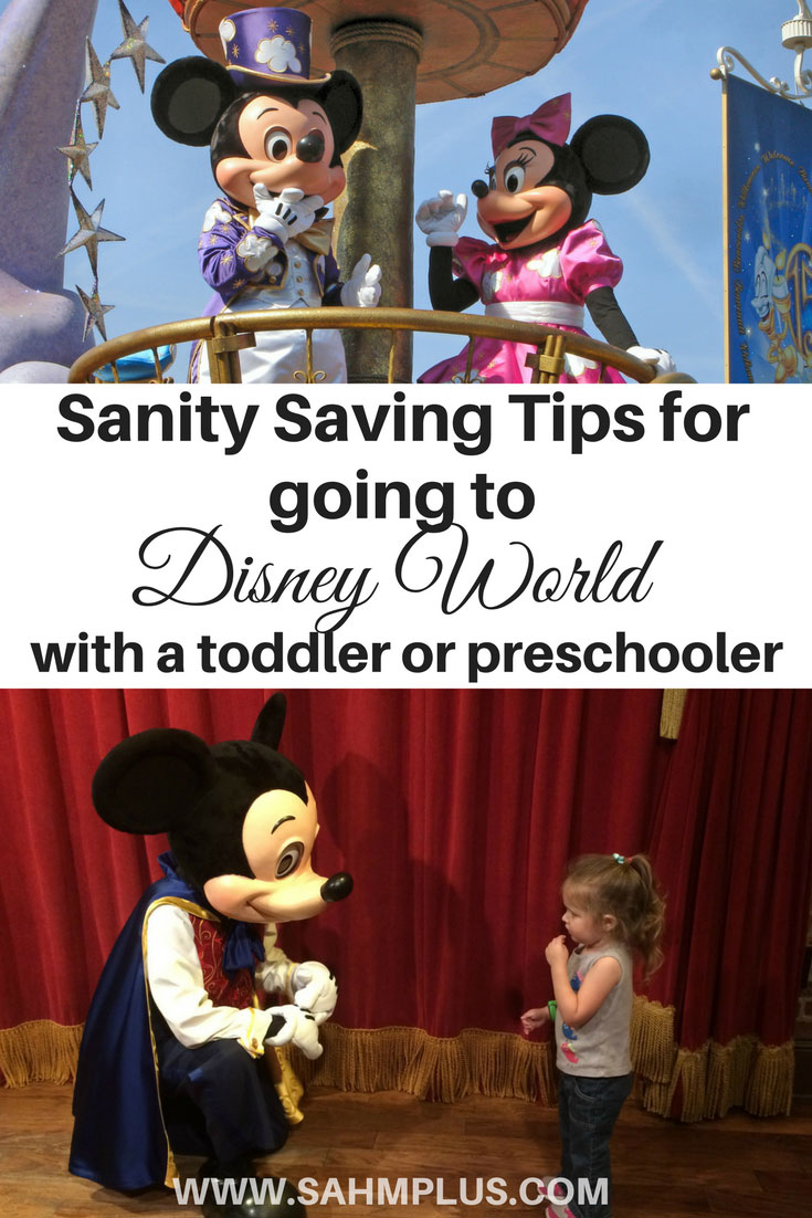 Sanity saving tips and tricks for going to Disney World with a toddler or preschooler. What I learned when I took my toddler to Disney by myself! www.sahmplus.com