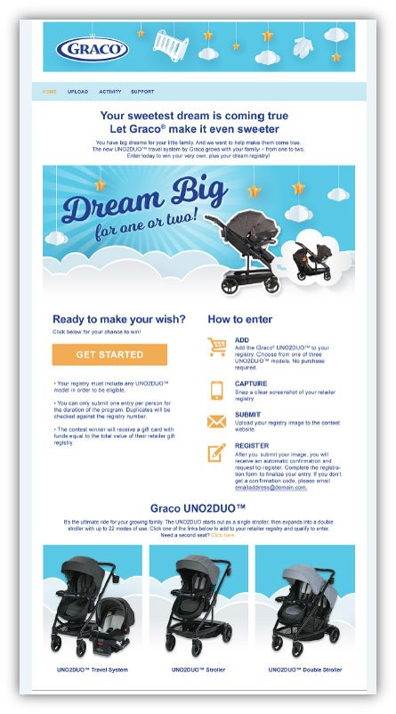 Dream Big Registry Sweepstakes for Graco UNO2DUO stroller