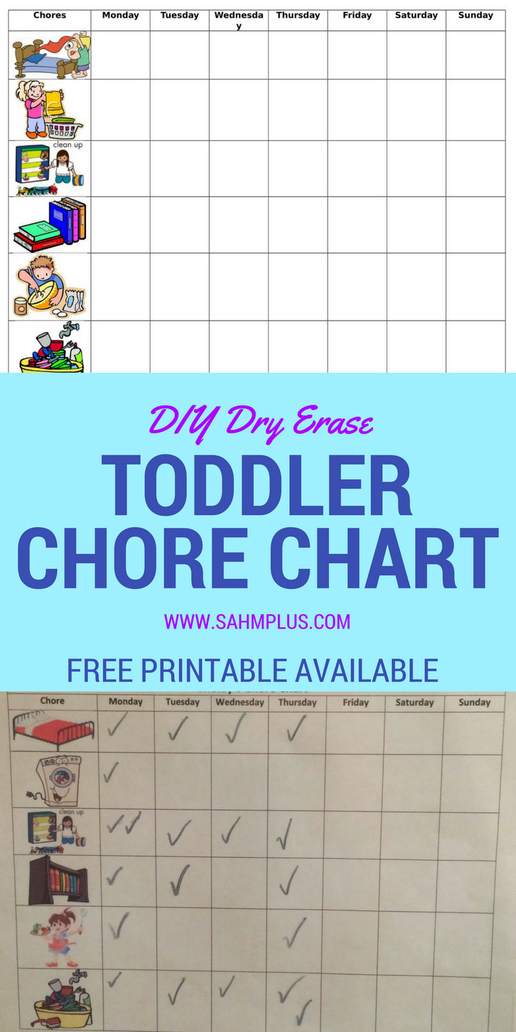 DIY dry erase chore chart for toddlers OR snag a free toddler chore chart printable with pictures with email newsletter signup www.sahmplus.com