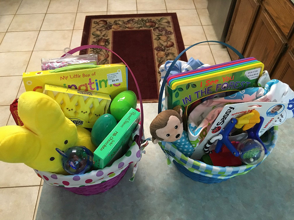 My kids' Easter baskets 2016. Yes, there's candy, but look at the cute non-candy options I put in there!