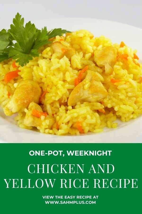 Easy chicken and yellow rice recipe - uses leftover chicken, homemade chicken broth and vigo yellow rice in one pot | www.sahmplus.com