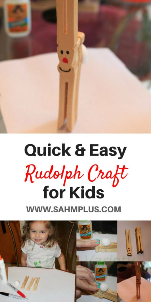 Quicky and easy Rudolph craft for kids - reindeer crafts using wooden craft clothespins