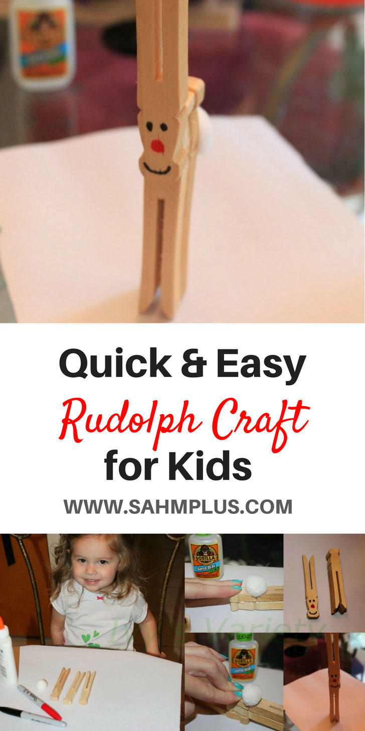 Quicky and easy Rudolph craft for kids | holiday crafts | Christmas Craft | reindeer craft for kids | www.sahmplus.com