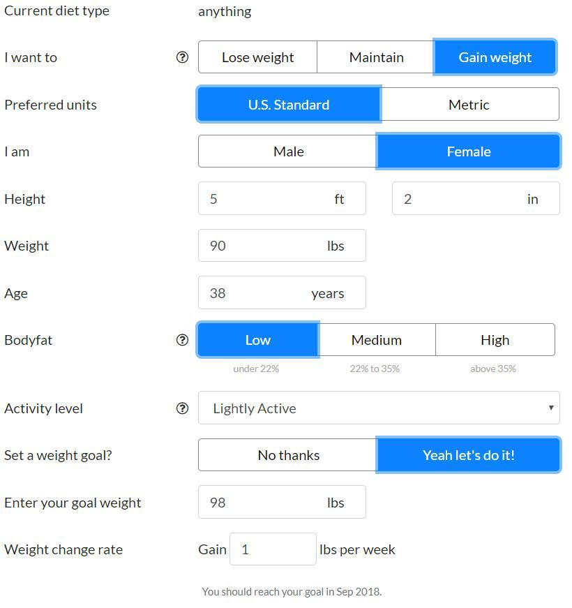 Eat This Much calorie calculator for gaining weight | sahmplus.com