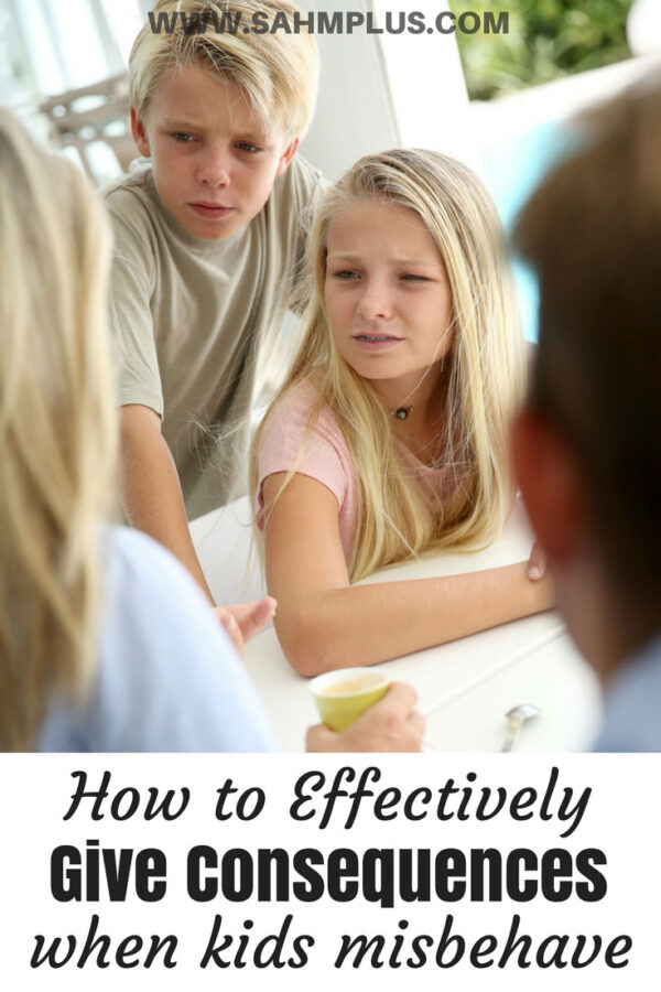 parents disciplining kids - pin for Consequence jar best practices for dealing with misbehavior. How to effectively and easily discipline your kids without yelling or spanking | www.sahmplus.com